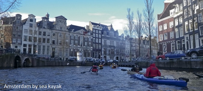 Sea kayaking in the canals of Amsterdam, zeekajak Amsterdam, Travels with Paddles